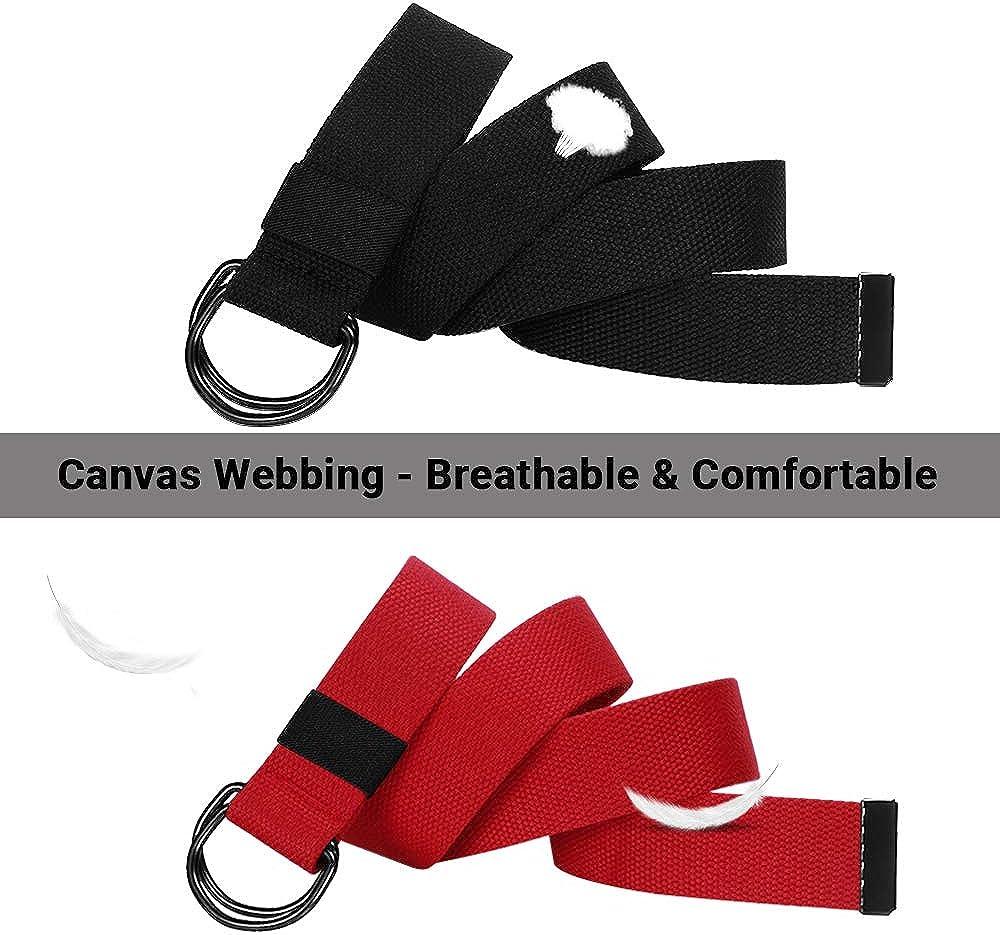 ITIEZY Cintura Uomo 2 Pacchi Cintura Lavoro in Tela Cintura da Uomo Donna Fibbia D-ring Unisex per Lavorare Sport Allaperto Tattica Casuale
