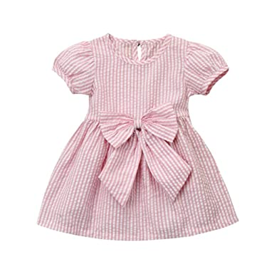 b43a024df0 Goodlock Toddler Kids Infant Fashion Dress Baby Girls Clothes Stripe Bow  Princess Outfits Dress (Pink