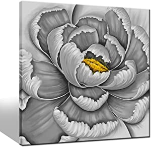 LevvArts - Flower Pictures Wall Art Simple Elegant Gray and Yellow Blossom Flower Paintings on Canvas Modern Home Living Room Decor Abstract Floral Artwork Framed Ready to Hang