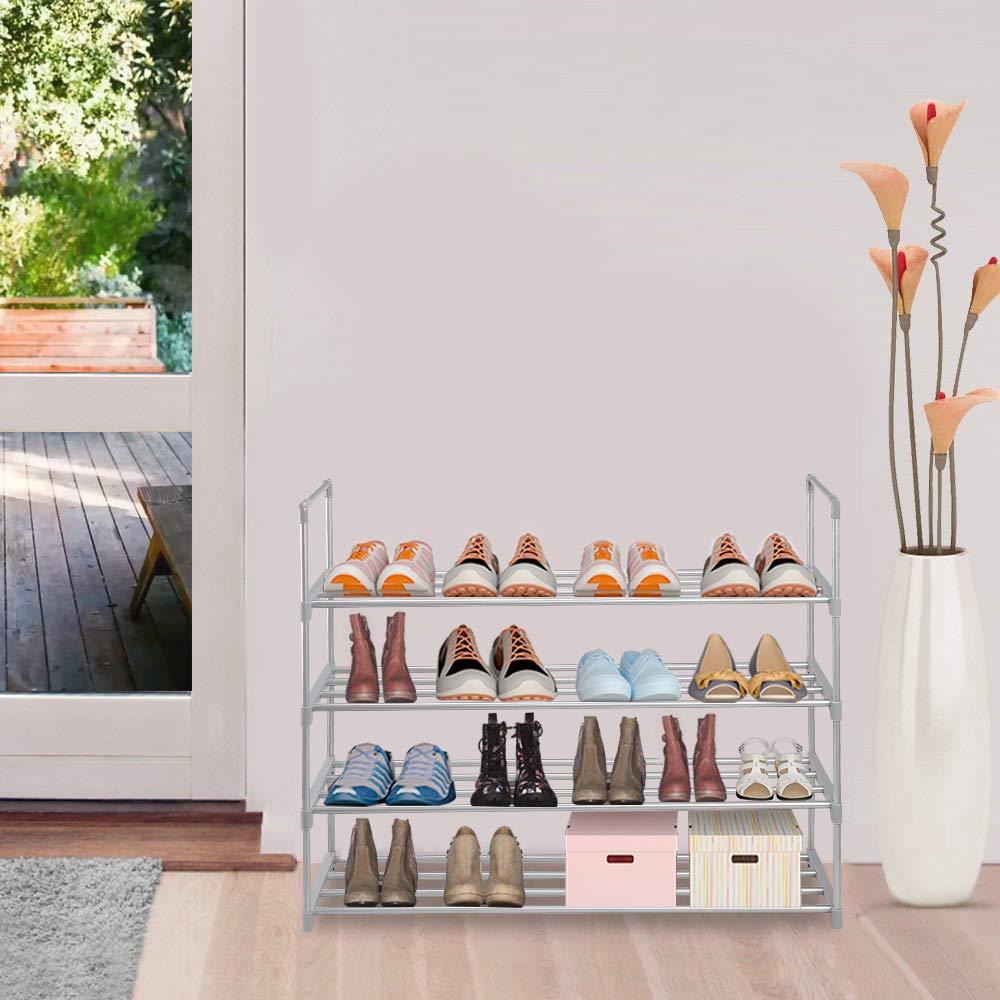 sunvito Set de 10pcs de Organizadores Ajustables de Zapatos con Ranuras Soportes de Calzado Apilador para Zapatos Ahorro de Espacio