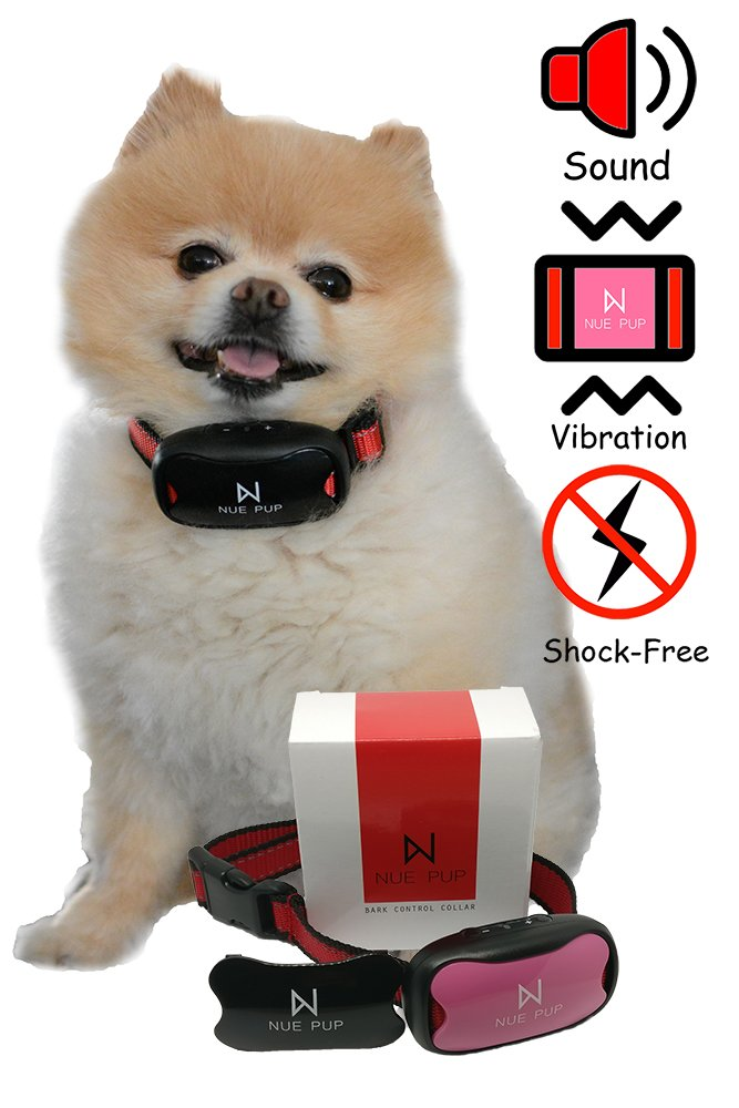 Nue Pup Upgraded Anti-Barking Device by Humane, NO Shock Training Device for Small, Medium & Large Breeds   7 Adjustable Sensitivity Levels   No-Bark Collar with Sound & Vibration