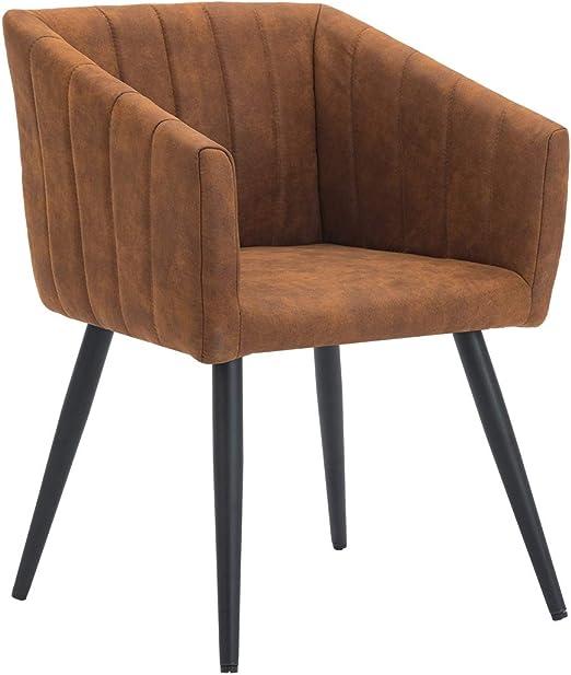 Esszimmerstuhl Armstuhl Stoff Lederoptik Orange Braun Kupfer Ocker Sessel RETRO