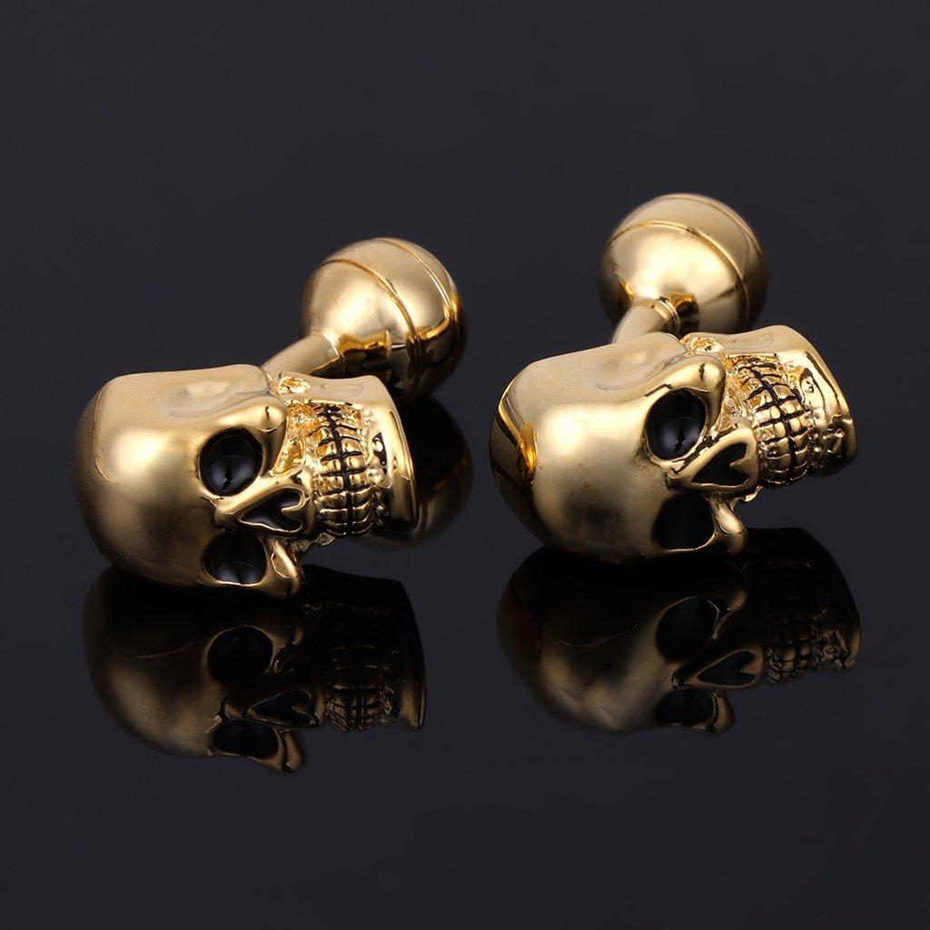 Cuigu Hombre Gemelos/ /Punk G/ótico Calavera Cabeza Esqueleto Gemelos Se/ñor Joyas Fiesta Camisa Gemelos Cobre