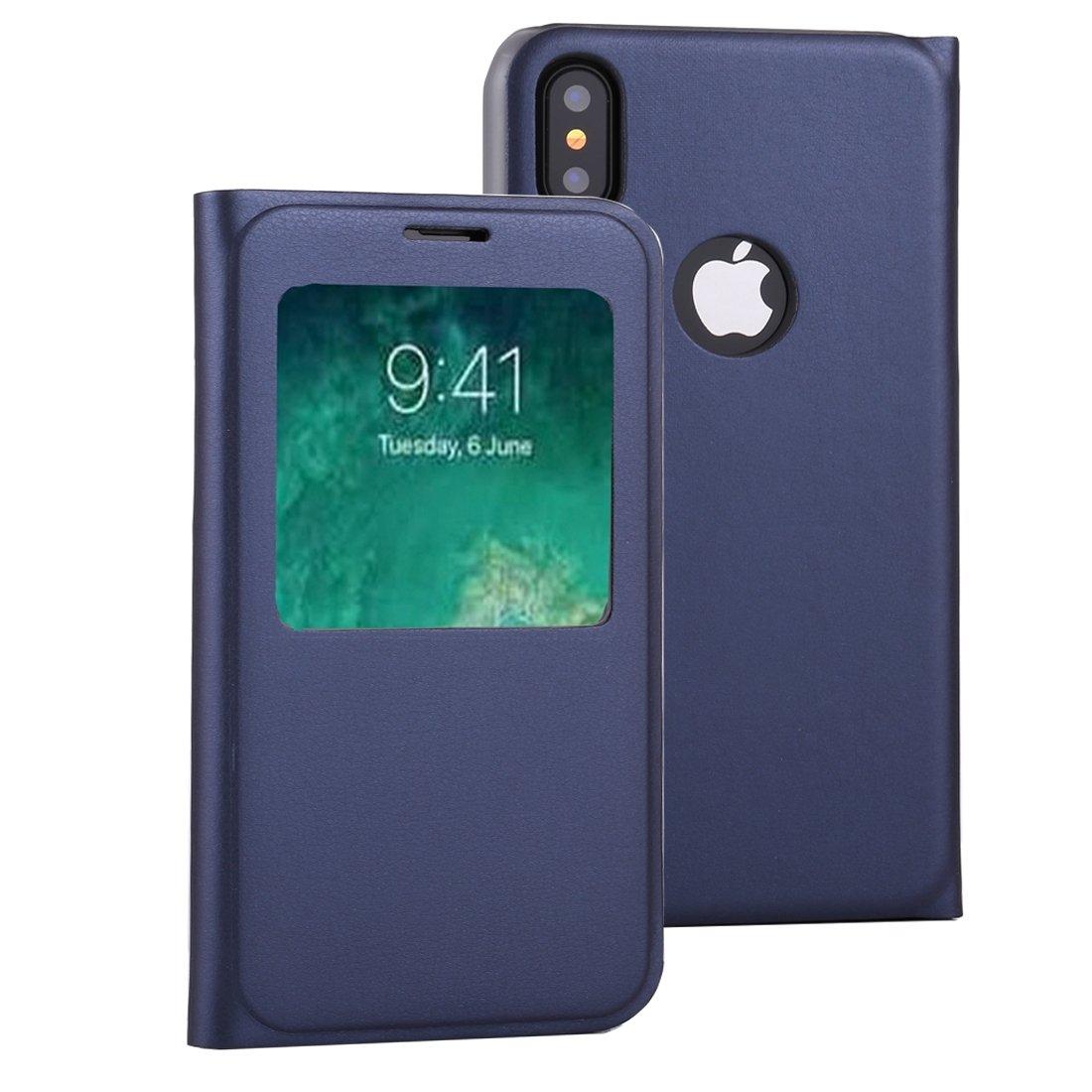 reputable site dbb72 bd245 Amazon.com: GR Horizontal Flip Leather Case Call Display ID iPhone X ...