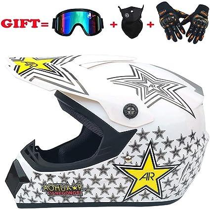 regalos casco de motocross gafas m/áscara guantes casco de moto para el hombre y la mujer MX motocicleta casco lleno casco de motocross Blanco,M AM bicicleta de monta/ña casco lleno