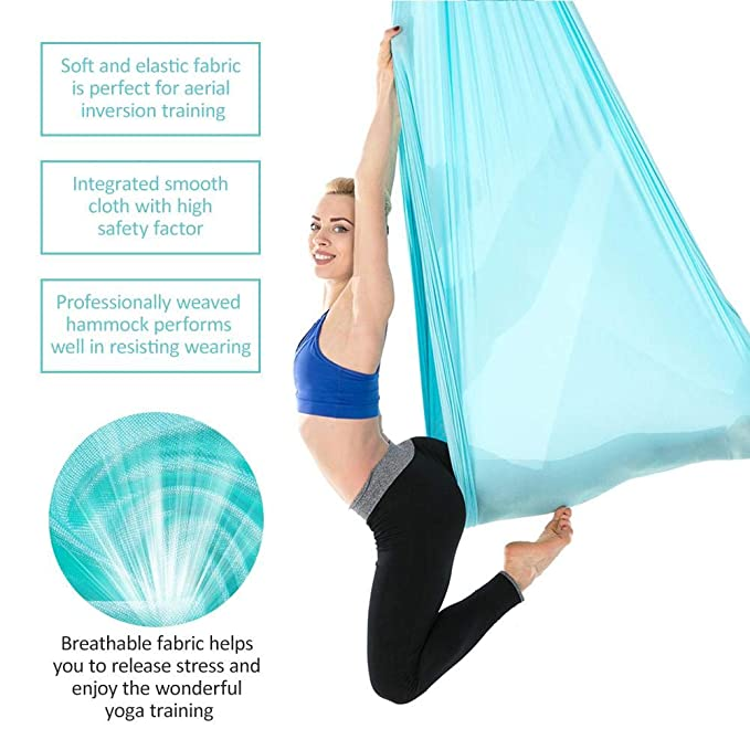 Yoga Stretchy Aerial Hammock With Extended Carabiner Indoor Silk Anti Gravity Yoga Set Elastic Swing Latest Belts For Training Sports Reasonable Price
