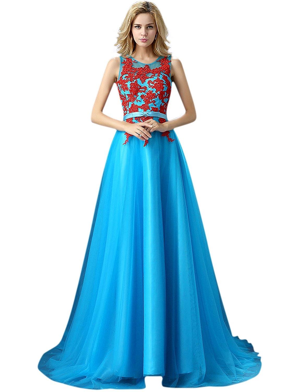 ASVOGUE Women's Sleeveless Floral Applique evening Bridesmaid Prom Dress