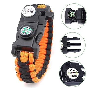 127a77e7d4 サバイバルブレスレット 多機能 ブレスレット SOS LEDライト コンパス ホイッスル 救命縄 ファイヤースターター スクレーパー キャンプ