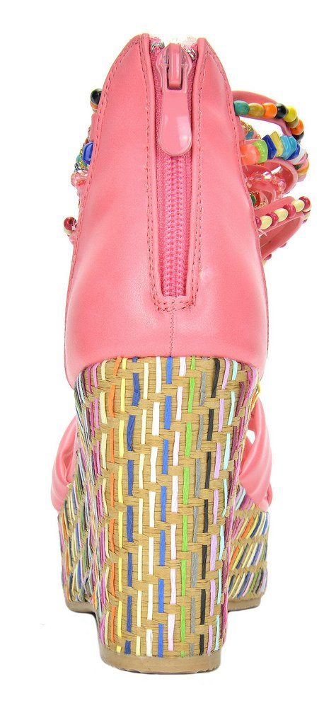 DREAM PAIRS Bling Women's Wedge Sandals Pearls Across The Top Platform High Heels Coral Size 8.5 by DREAM PAIRS (Image #5)
