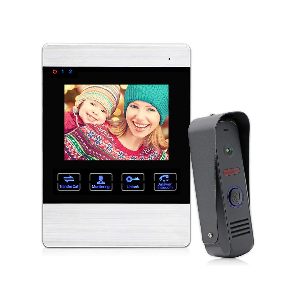 JeaTone 4 Inch TFT Color Video Door Intercom Door Bell Unlocking Night Vision HD Home Security Camera System