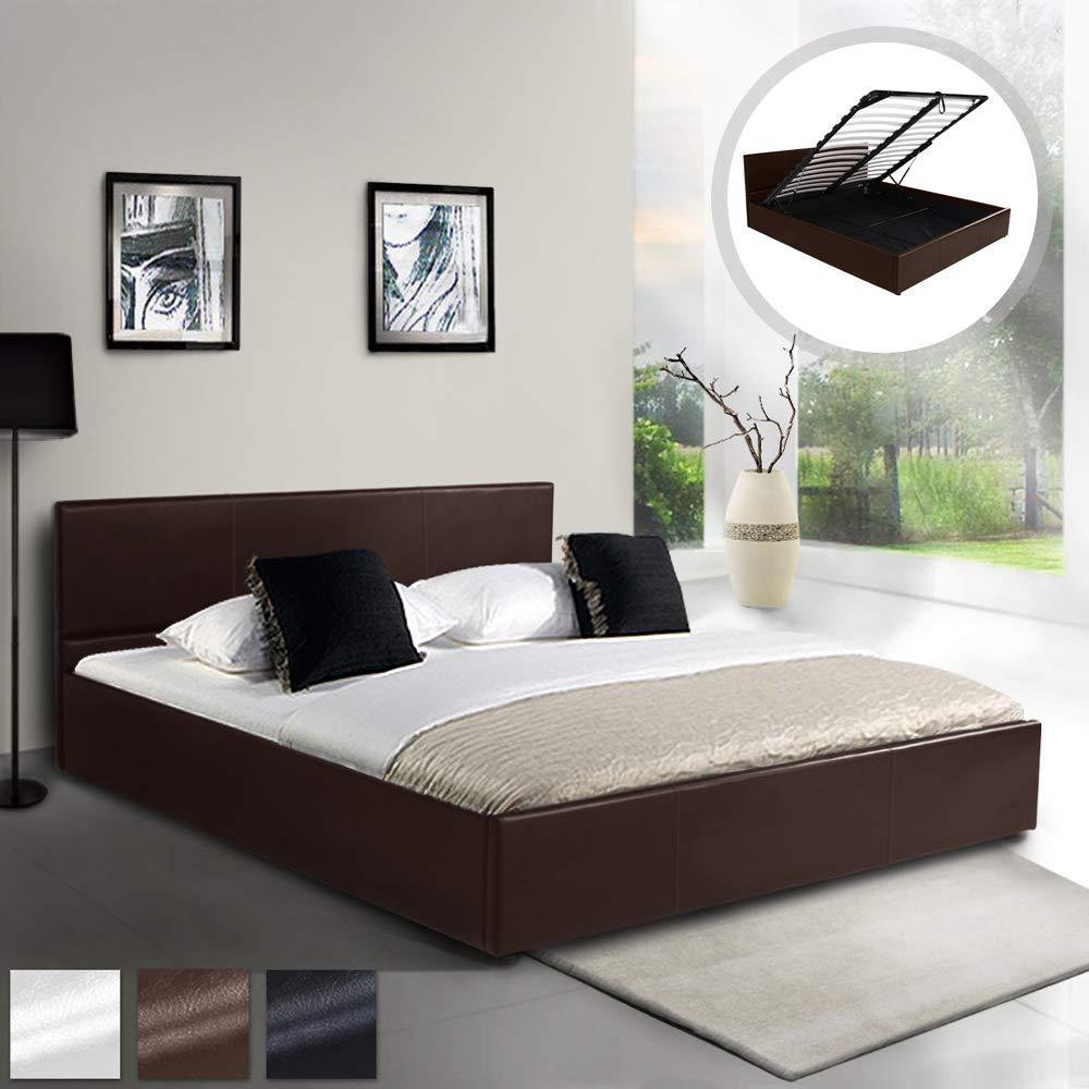 MIADOMODO Kunstlederbett (140 x 200 cm) cm) cm)   mit integriertem Lattenrost und Bettkasten   Polsterbett, Doppelbett, Bettgestell, Bettrahmen   in Braun 52f0bb