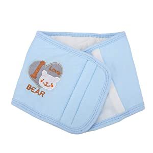 Baby Belly Cover Thickened Cotton Infant Abdomen Umbilical Cord Belt Keep Warm Wrap Newborn Waist Support Band (Blue)