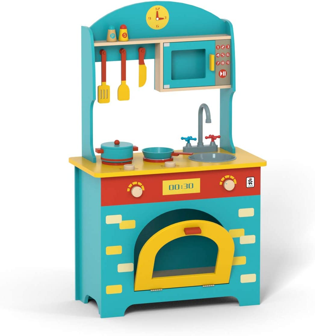 Amazon Com Robud Wooden Play Kitchen Set Pretend Play Toy Gift For Kids Toddlers Boys Girls Ages 3 4 5 6 7 Years Old And Up Toys Games
