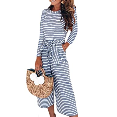 356c6f305329 Yoawdats Women Striped Long Sleeve Waist Belted Wide Leg Loose Jumpsuit  Overalls (Small