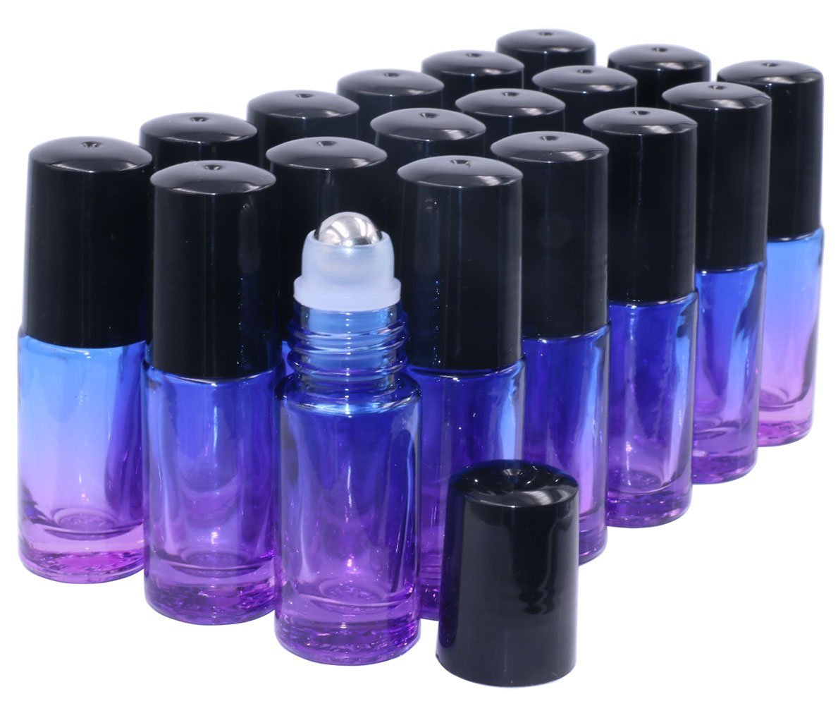 Essential Oil Roller Bottles 5ml 18 Pack Thick Gradient Glass Roll on Bottles With Stainless Steel Roller Balls,Black Lids Perfume Lip Balms Aromatherapy Blends-FREE Dropper Blue Violet Gradient