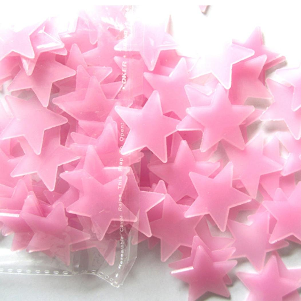 Sothread 100pcs Glow In The Dark Plastic Stars Stickers Baby Kids Ceiling Wall Room (Pink)