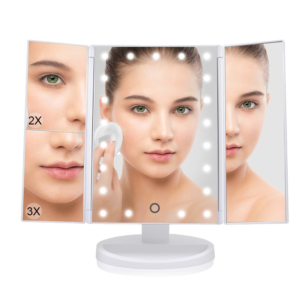 DreamGenius Makeup Mirror LED Trifold Lighted Vanity Mirror with Touch Screen 1x/2x/3x Magnification by DreamGenius