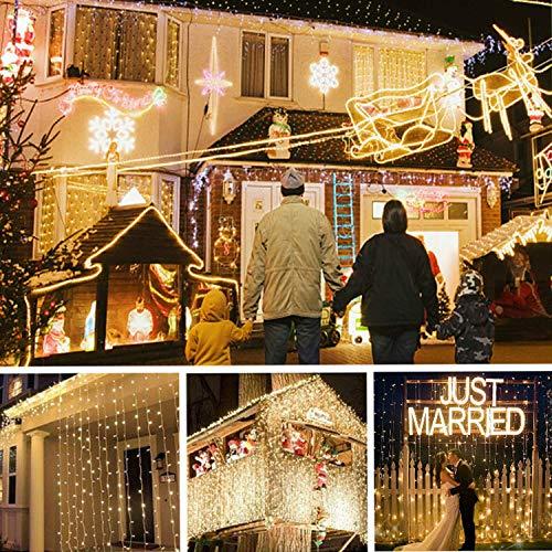 Tenda Luminosa, TAOPE Luci a Cascata per Finestra Balcone 300 LED/IP65 Impermeabile/8 modalità Controllo remoto Senza Fili, Lucine fatate romantiche per Decorazione Feste Natale Capodanno Bianca Calda