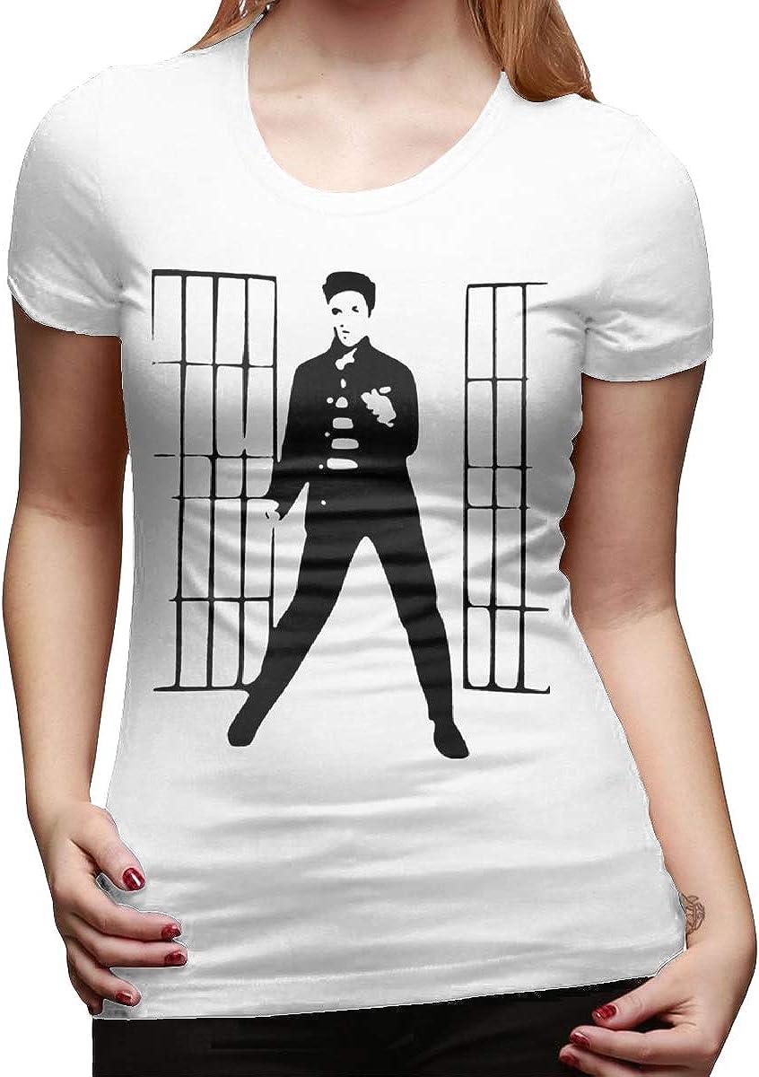 HIPGCC Womens Sports T Shirt Print with Jailhouse Rock White Short Sleeve