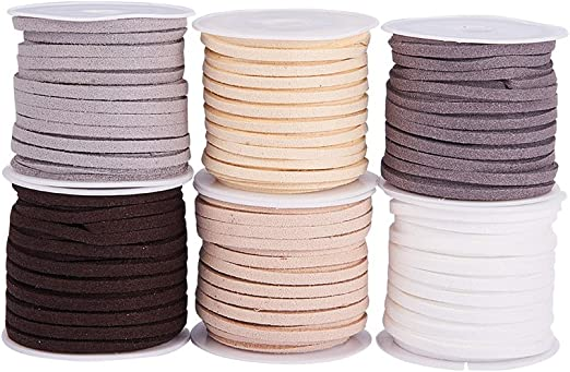 Mixed#1 Pandahall 4 Colors Faux Leather Suede Cords 3mm Wide Jewelry Craft Making Flat Micro Fiber Lace Suede Beading Thread 5 Yards//Roll