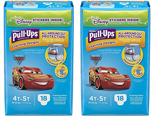 Pull-Ups Learning Designs Potty Training Pants for Boys, 4T-5T (38-50 lb.), 18 Count with Bonus Magnetic Diaper Size and Weight Chart (Pack of 2)
