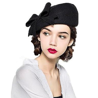 ae5d59912f2 Krastal Womens Fascinators Elegant Wool Felt Bow Berets Pillbox Hats Red  White Black at Amazon Women's Clothing store: