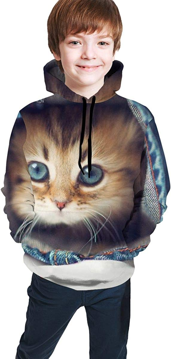 Boys Girls 3D Printed Cute Cat in The Pants Pullover Hoodies Hooded Sweatshirts Tops Blouse with Pocket
