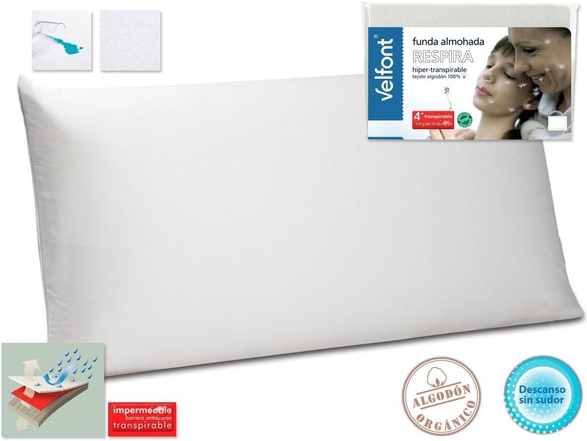 Velfont Funda Almohada Respira Transpirable hipermeable hipoalergenico Tratamiento aloevera Todas Las Medidas (70cm)
