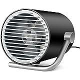 卓上 扇風機 ファン USB デスク 扇風機 ミニ タッチスイッチ ファン 静音 小型 強力 風量2段階 135度角調節可能 カーボン (ブラック)