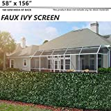 """BOUYA 58"""" x 156"""" Fence Screen Faux Ivy Privacy with Mesh Back-Artificial Leaf Vine Hedge Perfect for Outdoor Décor Garden Backyard Decoration Panels Fence Cover"""