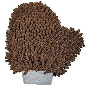 Versatile Microfiber Car Wash Mitt or Dog Bath Glove - Ultra Absorbent and Lint Free (Colors: Brown and Oatmeal)