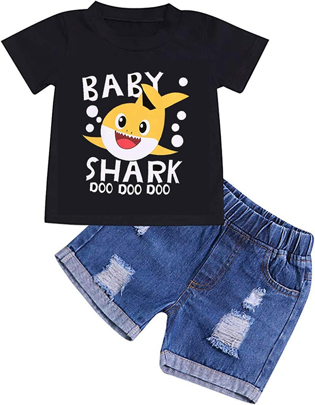 Toddler Baby Boys Girls Outfit Baby Boy Shark Doo Doo Doo Tops Denim Pants Shredded Jeans Clothes Set