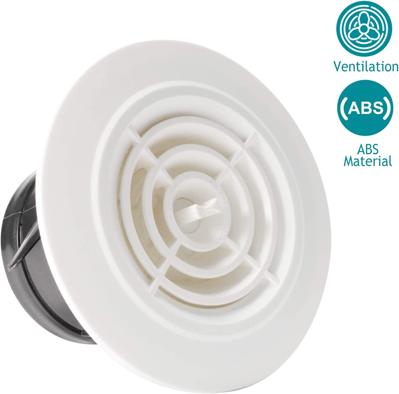 Amazon Com Hg Power 3 Inch Round Air Vent Abs Louver White Grille Cover Adjustable Exhaust Vent Fit For Bathroom Office Kitchen Ventilation Home Improvement