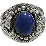Padma Craft Unisex Dragon LAPIS LAZULI Indian Vintage Tibetan Silver-Tone White Metal Cuff Bracelet