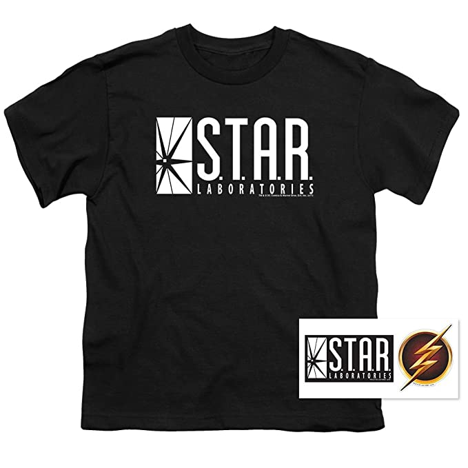 acdf06aa8c Youth Flash Star Labs Superhero S.T.A.R. Laboratories T Shirt for Boys &  Stickers