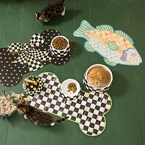 MacKenzie-Childs Freckle Fish Pet Placemat - Rubber Backing - Food and Water Mat - Dine Placemat - Polypropylene - 24'' Wide, 13.5'' Long
