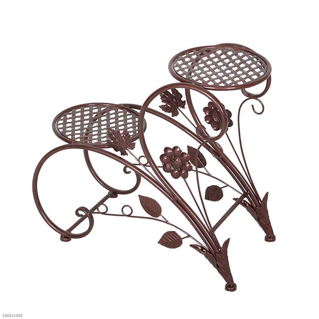 LYN Scaffale per Piante, Supporto per Piante a rossoolo a 2 Livelli Supporto per vasi da Esposizione in Metallo per Esterni in Metallo da Interno (colore   Brass)