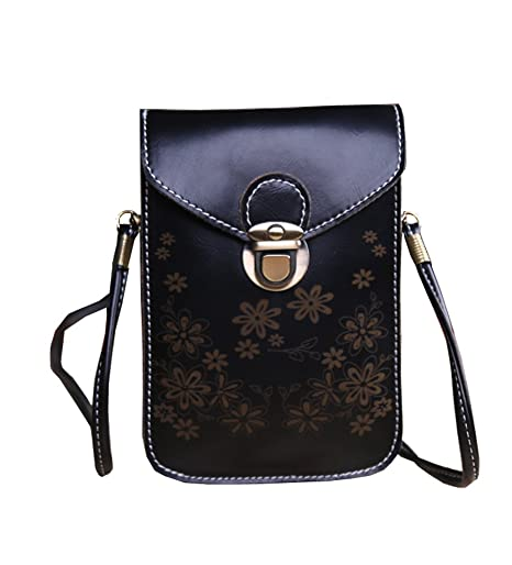 fd94b7165c6b Image Unavailable. Image not available for. Color  Small Crossbody Bag PU  Leather Purse Wallet Cellphone Pouch with Shoulder Strap ...