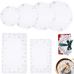 600Pcs Lace Doilies Paper, FULANDL White Round Disposable Paper Lace Doilies, Round Paper Placemats Bulk for Cake, Desert, Tableware Decoration-Assorted Sizes