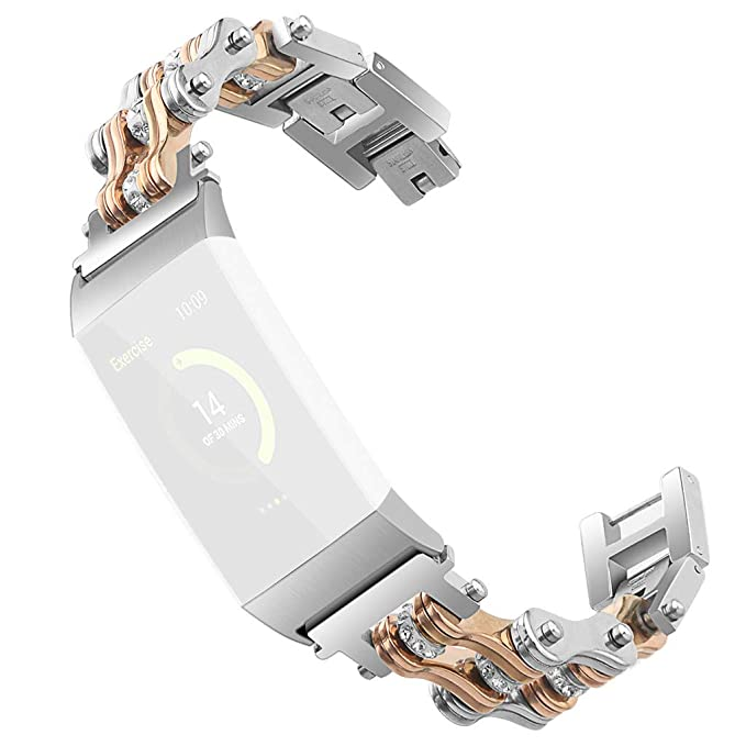 Amazon com: Metal Watch Band for Fitbit Charge 3 - Stainless Steel
