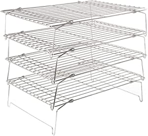 Flagship 304 Grade Stainless Steel Stackable Kitchen Silver Cooling Rack Set with Collapsible Folding Legs for Baking Cooking Grilling (4-Tier)