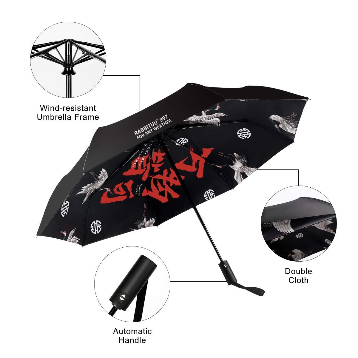 fff22b0ac8dd Rabbituu Windproof Travel Umbrella Compact Lightweight Folding Portable  Automatic Open Close Double Canopy Sun or Rain Totes Outdoor Car Umbrellas  8 ...