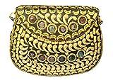 Batu Lee Stylish Handmade Antique METAL, BEADS & LAC WORK Clutch hard Handbag with Golden Chain Multi Elipse Shape for Women (38982)