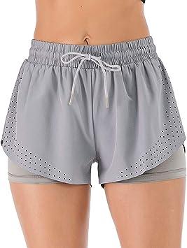 Lixada Pantalones Cortos Deportivos Mujer Verano Secado Rapido Cintura Elastica Con Cordon Para Sports Fitness Yoga Gym Amazon Es Deportes Y Aire Libre