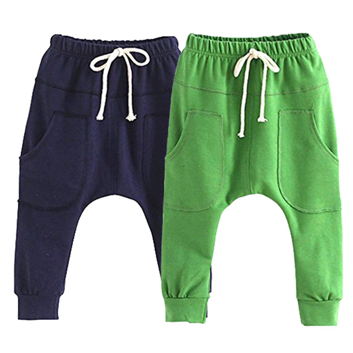 REWANGOING 2 Pack of Little Baby Boys Girls Cotton Hiphop Harem Pants Infant Sport Jogger