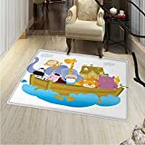 Religious Area Rug Carpet Religious Story the Ark with Animals in the Boat Journey Faith Theme Cartoon Living Dining Room Bedroom Hallway Office Carpet 36''x48'' Multicolor