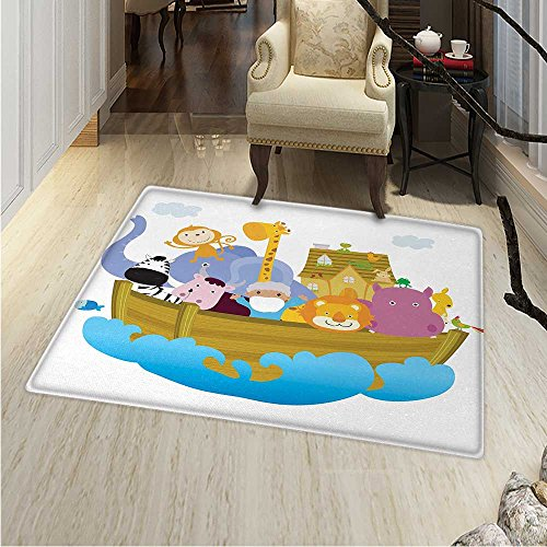 Religious Area Rug Carpet Religious Story the Ark with Animals in the Boat Journey Faith Theme Cartoon Living Dining Room Bedroom Hallway Office Carpet 36''x48'' Multicolor by Anhounine
