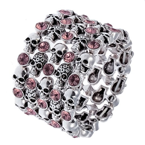 Hiddlston Cupper Sugar Skull Candy Arm Stretch Cuff Bracelet Jewelry For Women]()