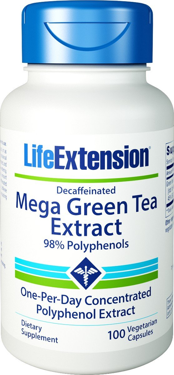 Life Extension Mega Green Tea Extract 98 Polyphenols, 100 veg caps -Decaf (100x3) by Life Extension (Image #1)