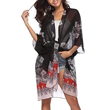 85b75b5695 Image Unavailable. Image not available for. Color: Caiuet Women Casual Printed  Beach Sunscreen Shawl Smock Chiffon Cardigan Cover-Ups